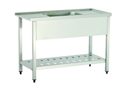 Dishwasher Inlet Table with Sink with Perforated Lower Shelf