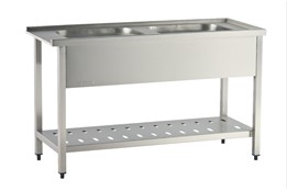 Dishwasher Inlet Table with Sinks with Perforated Lower Shelf