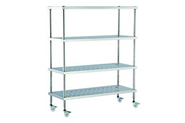 Dismountable Mobile Storage Unit with Perforated Shelves